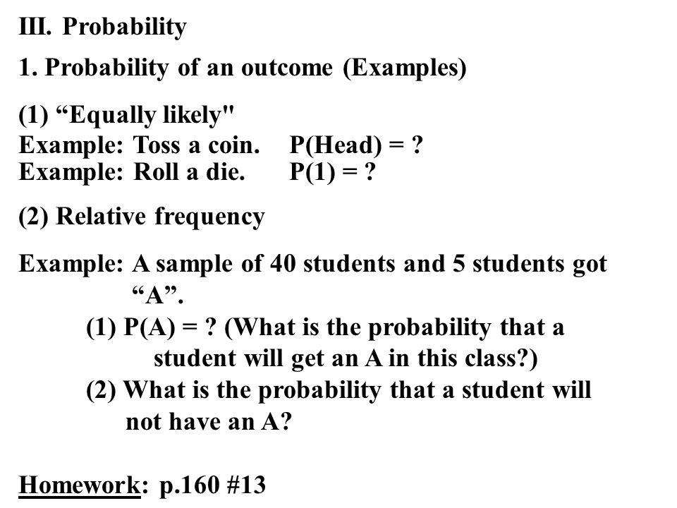 III. Probability 1.