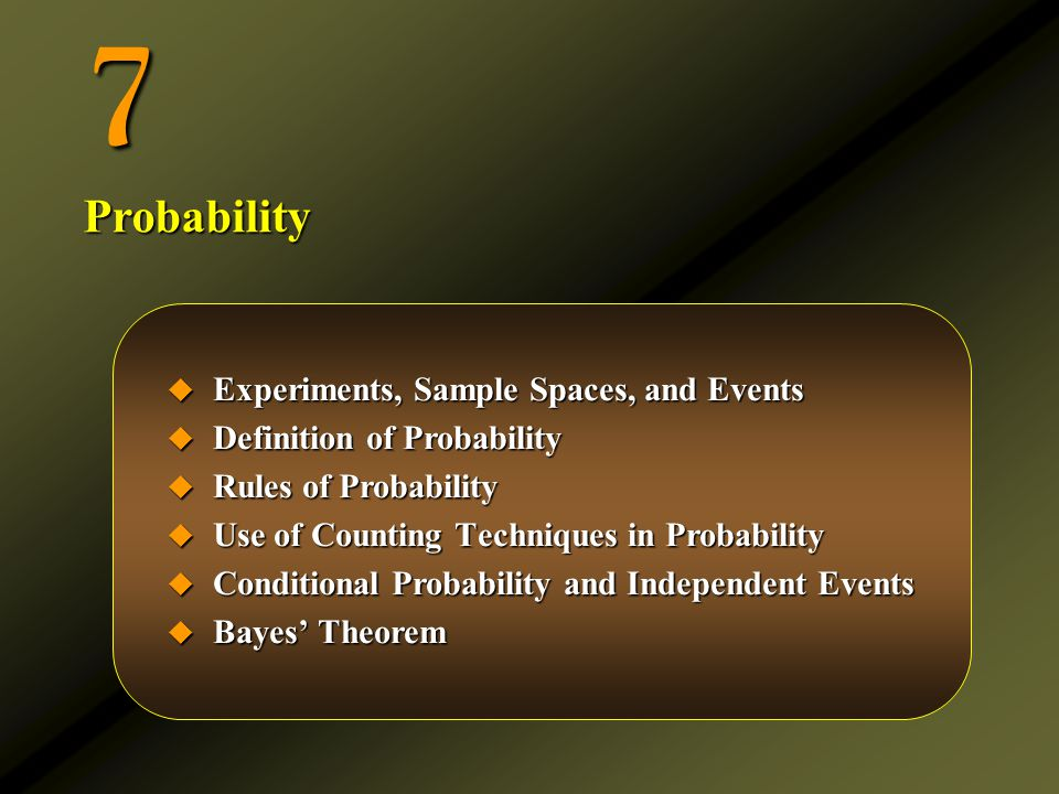 Computing the Probability of an Event in a Uniform Sample Space  Let S be a uniform sample space and let E be any event.