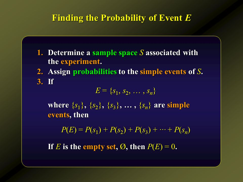 Finding the Probability of Event E 1.Determine a sample space S associated with the experiment. 2.Assign probabilities to the simple events of S. 3.If