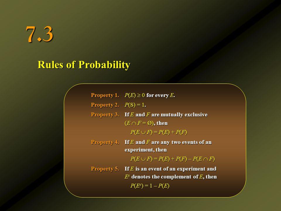 Rules of Probability 7.3 Property 1.P(E)  0 for every E. Property 2.P(S) = 1. Property 3.If E and F are mutually exclusive (E  F = Ø ), then P(E  F