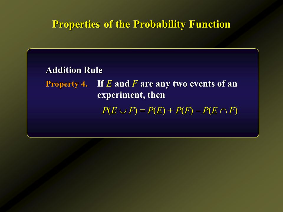 Properties of the Probability Function Addition Rule Property 4. If E and F are any two events of an experiment, then P(E  F) = P(E) + P(F) – P(E  F