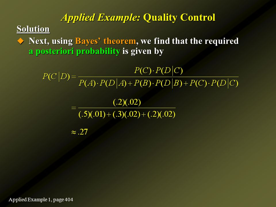 Applied Example: Quality Control Solution  Next, using Bayes' theorem, we find that the required a posteriori probability is given by Applied Example