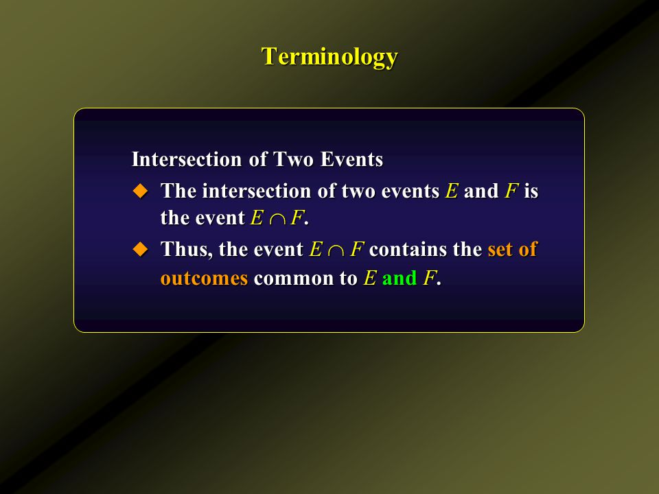 Terminology Complement of an Event  The complement of an event E is the event E c.