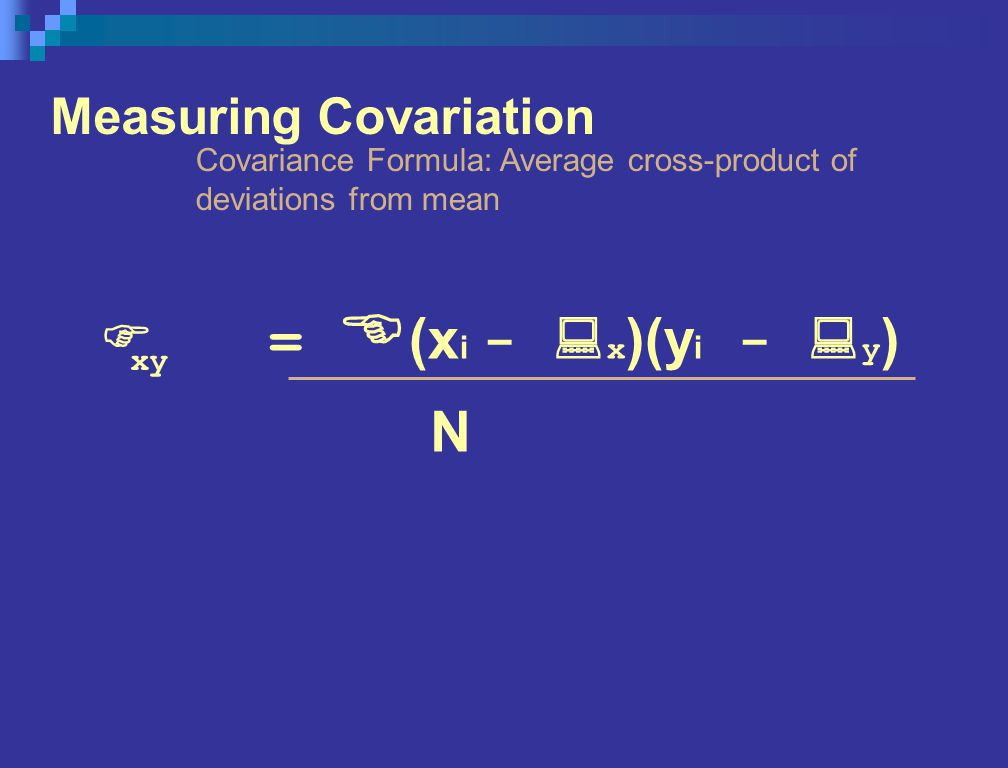 Measuring Covariation Covariance Formula: Average cross-product of deviations from mean F = E (x i - : x )(y i - : y ) xy N