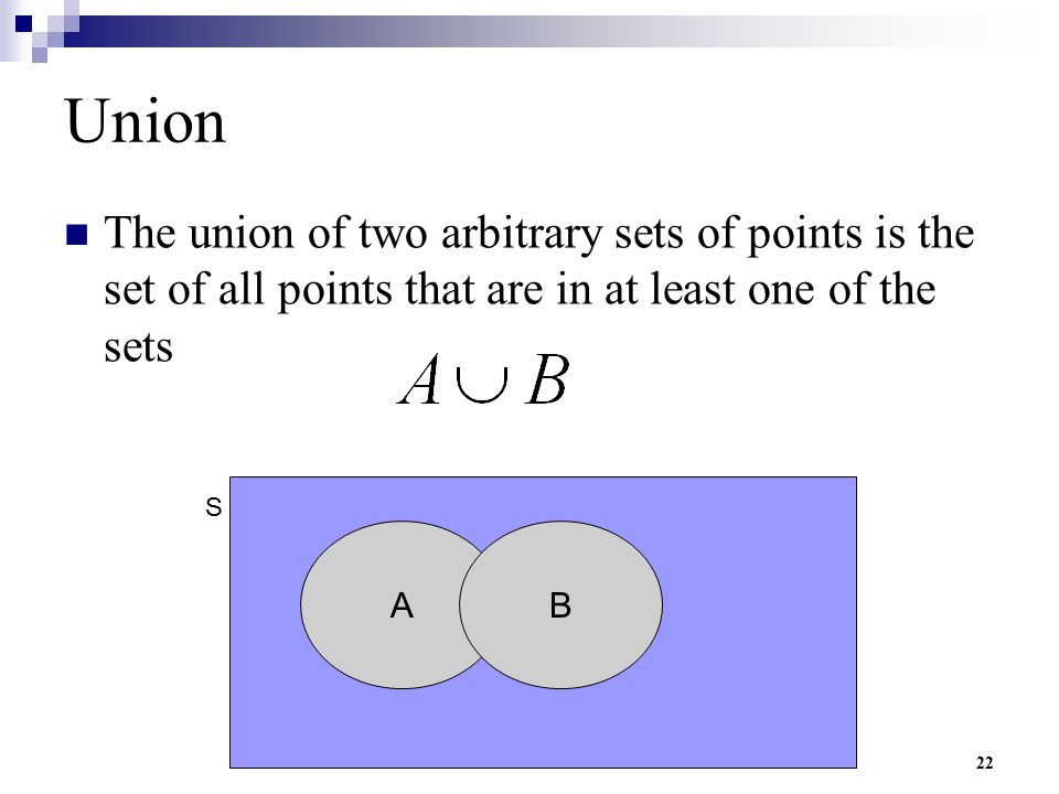 22 Union The union of two arbitrary sets of points is the set of all points that are in at least one of the sets A S B