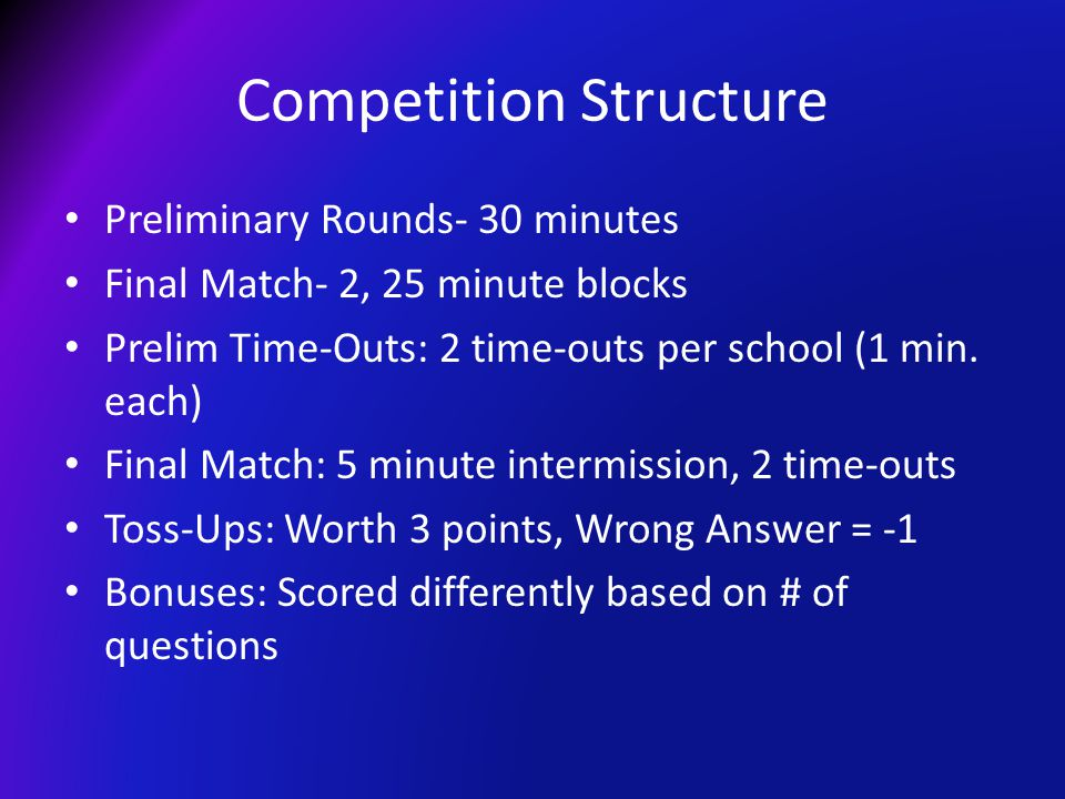 Competition Structure Preliminary Rounds- 30 minutes Final Match- 2, 25 minute blocks Prelim Time-Outs: 2 time-outs per school (1 min. each) Final Mat