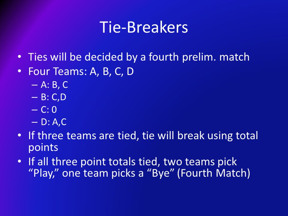 Tie-Breakers Ties will be decided by a fourth prelim.
