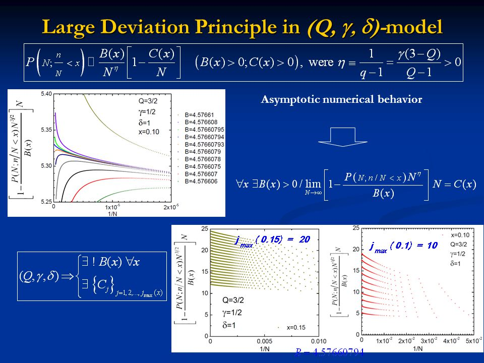 Large Deviation Principle in (Q,  )-model Asymptotic numerical behavior