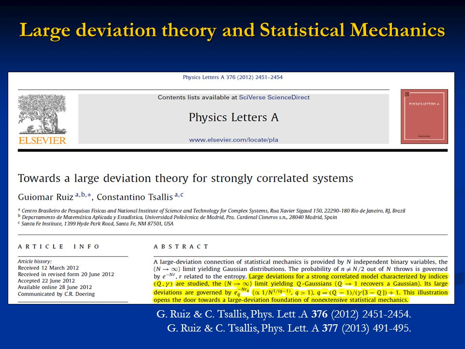 Large deviation theory and Statistical Mechanics G.