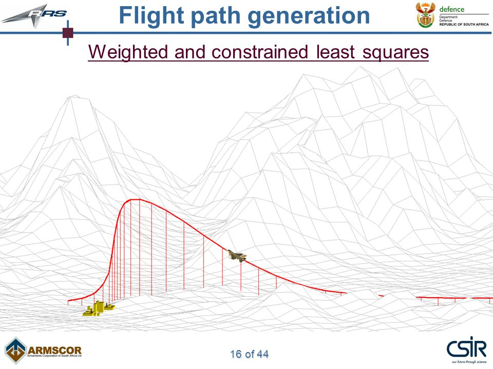 16 of 44 Weighted and constrained least squares Flight path generation