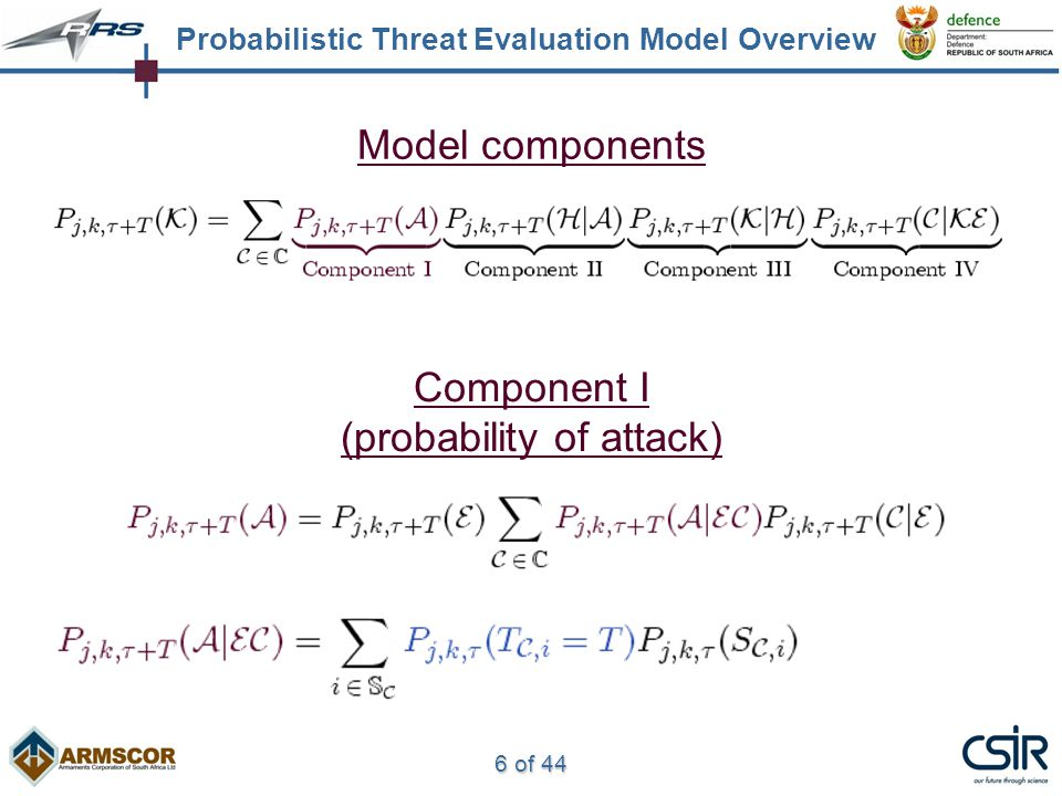 6 of 44 Model components Component I (probability of attack) Probabilistic Threat Evaluation Model Overview