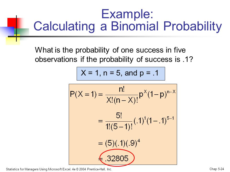 Statistics for Managers Using Microsoft Excel, 4e © 2004 Prentice-Hall, Inc. Chap 5-24 Example: Calculating a Binomial Probability What is the probabi
