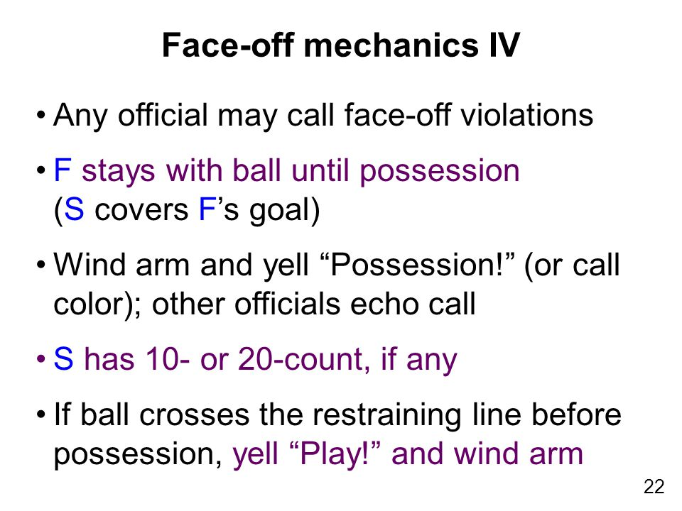 22 Any official may call face-off violations F stays with ball until possession (S covers F's goal) Wind arm and yell Possession! (or call color); other officials echo call S has 10- or 20-count, if any If ball crosses the restraining line before possession, yell Play! and wind arm Face-off mechanics IV