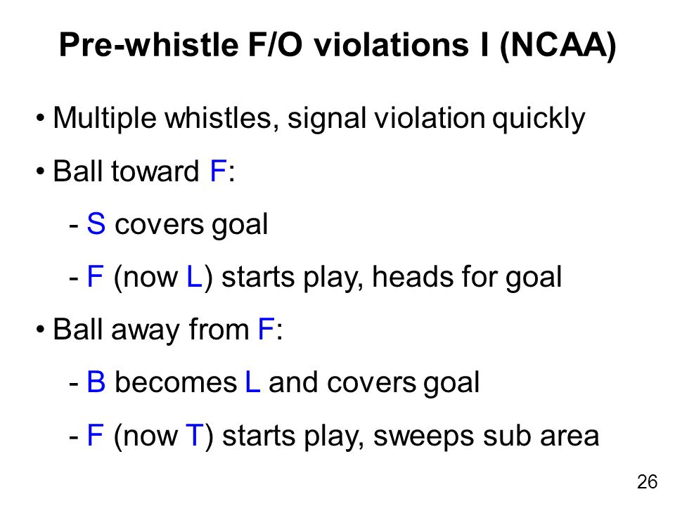 26 Multiple whistles, signal violation quickly Ball toward F: -S covers goal -F (now L) starts play, heads for goal Ball away from F: -B becomes L and covers goal -F (now T) starts play, sweeps sub area Pre-whistle F/O violations I (NCAA)