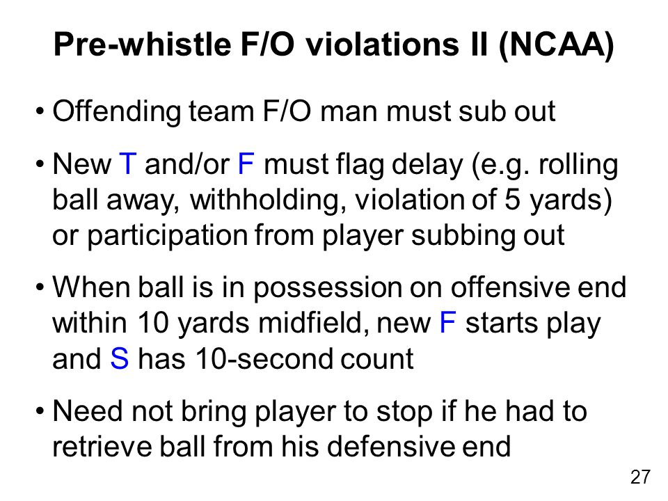 27 Offending team F/O man must sub out New T and/or F must flag delay (e.g.