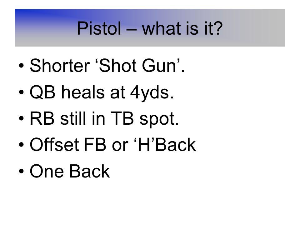 Pistol – what is it.Shorter 'Shot Gun'. QB heals at 4yds.