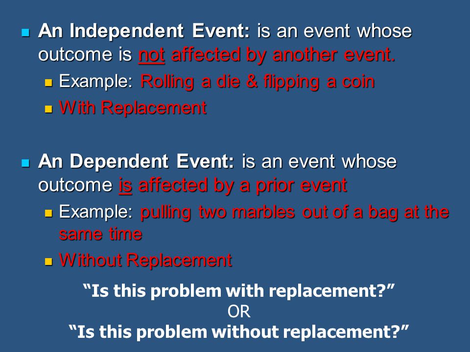 An Independent Event: is an event whose outcome is not affected by another event. An Independent Event: is an event whose outcome is not affected by a
