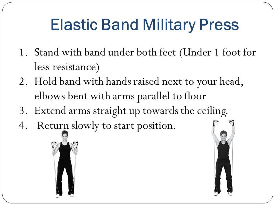 Elastic Band Military Press 1.Stand with band under both feet (Under 1 foot for less resistance) 2.Hold band with hands raised next to your head, elbows bent with arms parallel to floor 3.Extend arms straight up towards the ceiling.