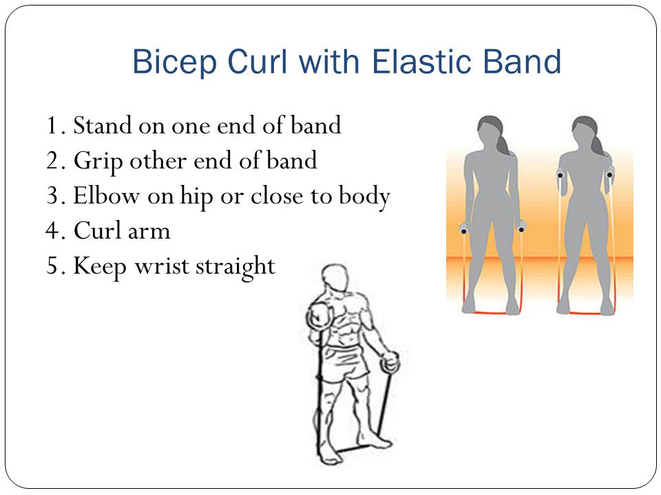 Bicep Curl with Elastic Band 1. Stand on one end of band 2. Grip other end of band 3. Elbow on hip or close to body 4. Curl arm 5. Keep wrist straight