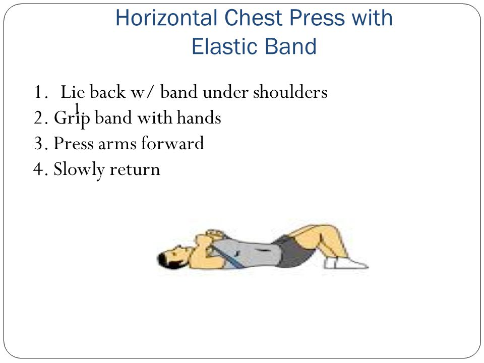 Horizontal Chest Press with Elastic Band 1.Lie back w/ band under shoulders 2.