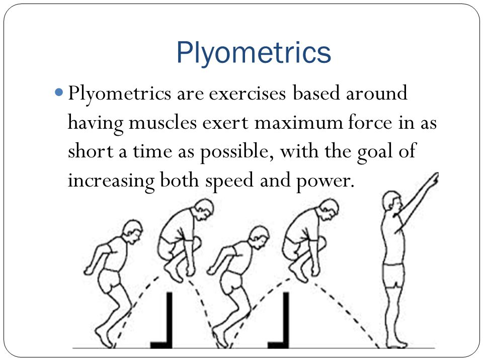 Plyometrics Plyometrics are exercises based around having muscles exert maximum force in as short a time as possible, with the goal of increasing both