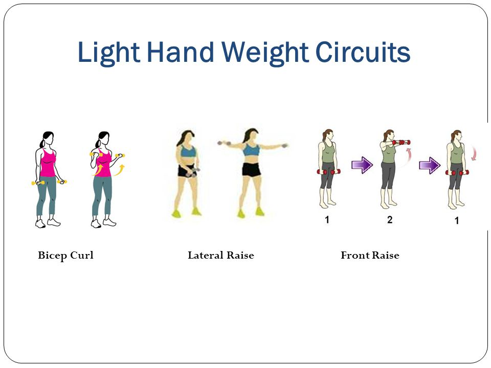 Light Hand Weight Circuits Bicep Curl Lateral Raise Front Raise