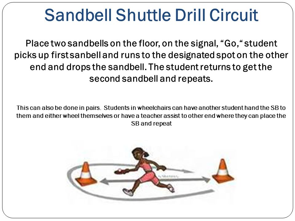 Sandbell Shuttle Drill Circuit Place two sandbells on the floor, on the signal, Go, student picks up first sanbell and runs to the designated spot on the other end and drops the sandbell.