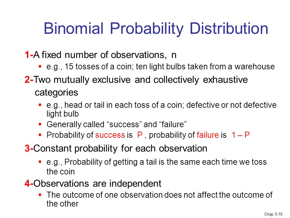 Chap 5-19 Binomial Probability Distribution 1-A fixed number of observations, n  e.g., 15 tosses of a coin; ten light bulbs taken from a warehouse 2-