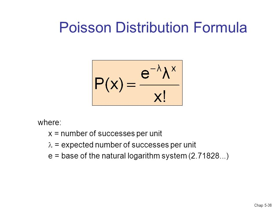 Chap 5-38 Poisson Distribution Formula where: x = number of successes per unit = expected number of successes per unit e = base of the natural logarit