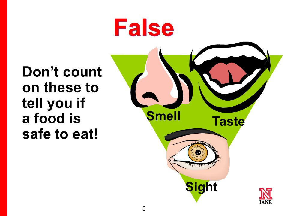2 #1 True or False If it smells, looks, and tastes okay, it is safe to eat.