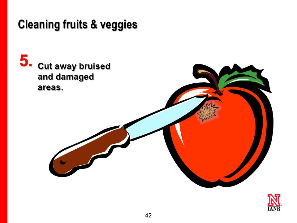 41 Why dry the fruits & veggies? Moisture left on fruits and vegetables helps bacteria grow. Dry them if you won't eat or cook them right away.