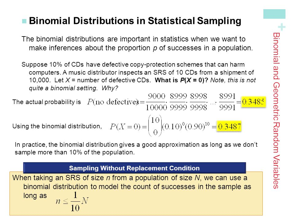 + In practice, the binomial distribution gives a good approximation as long as we don't sample more than 10% of the population. Binomial Distributions