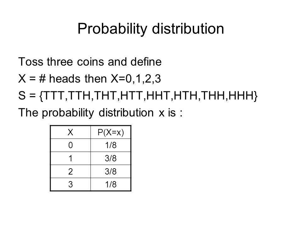Probability distribution Toss three coins and define X = # heads then X=0,1,2,3 S = {TTT,TTH,THT,HTT,HHT,HTH,THH,HHH} The probability distribution x is : XP(X=x) 01/8 13/8 2 31/8
