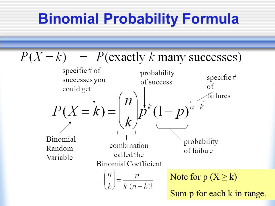 Binomial Probability Formula Binomial Random Variable specific # of successes you could get combination called the Binomial Coefficient probability of