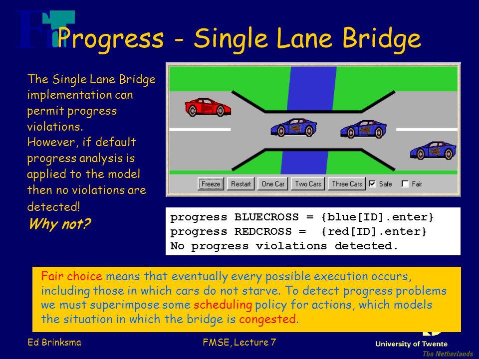 Ed BrinksmaFMSE, Lecture 7 Progress - Single Lane Bridge progress BLUECROSS = {blue[ID].enter} progress REDCROSS = {red[ID].enter} No progress violations detected.