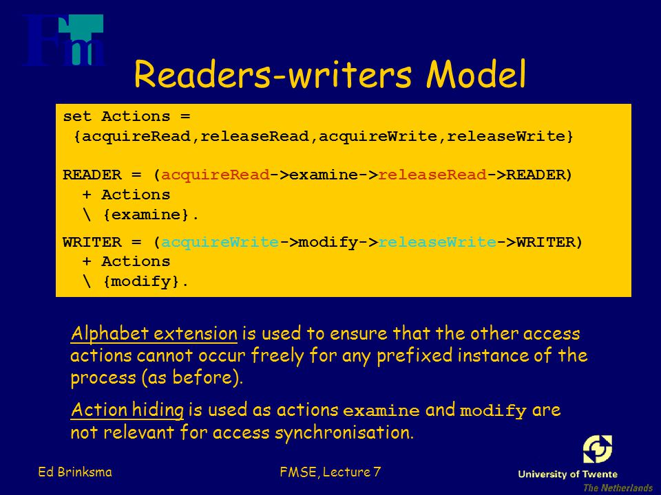 Ed BrinksmaFMSE, Lecture 7 Readers-writers Model set Actions = {acquireRead,releaseRead,acquireWrite,releaseWrite} READER = (acquireRead->examine->releaseRead->READER) + Actions \ {examine}.