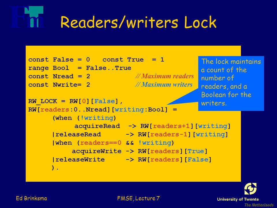 Ed BrinksmaFMSE, Lecture 7 Readers/writers Lock const False = 0 const True = 1 range Bool = False..True const Nread = 2 // Maximum readers const Nwrite= 2 // Maximum writers RW_LOCK = RW[0][False], RW[readers:0..Nread][writing:Bool] = (when (!writing) acquireRead -> RW[readers+1][writing] |releaseRead -> RW[readers-1][writing] |when (readers==0 && !writing) acquireWrite -> RW[readers][True] |releaseWrite -> RW[readers][False] ).