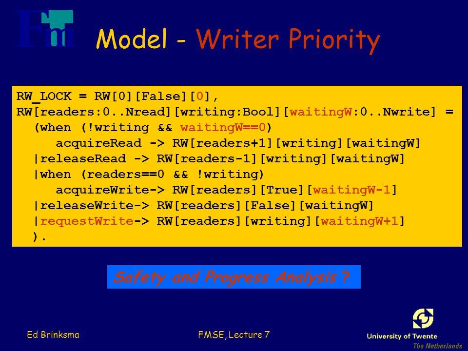Ed BrinksmaFMSE, Lecture 7 Model - Writer Priority RW_LOCK = RW[0][False][0], RW[readers:0..Nread][writing:Bool][waitingW:0..Nwrite] = (when (!writing && waitingW==0) acquireRead -> RW[readers+1][writing][waitingW] |releaseRead -> RW[readers-1][writing][waitingW] |when (readers==0 && !writing) acquireWrite-> RW[readers][True][waitingW-1] |releaseWrite-> RW[readers][False][waitingW] |requestWrite-> RW[readers][writing][waitingW+1] ).