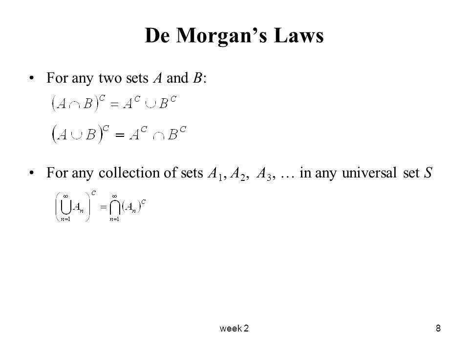 week 28 De Morgan's Laws For any two sets A and B: For any collection of sets A 1, A 2, A 3, … in any universal set S