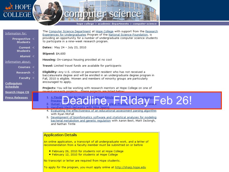 Deadline, FRIday Feb 26!