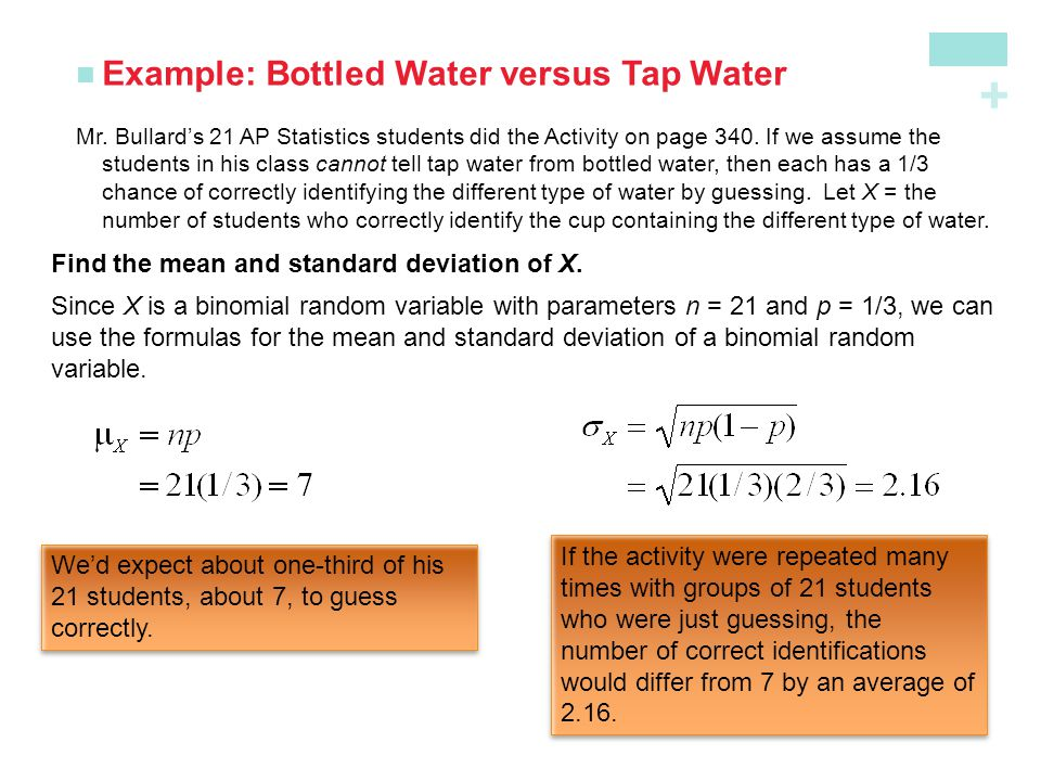 + Example: Bottled Water versus Tap Water Mr. Bullard's 21 AP Statistics students did the Activity on page 340. If we assume the students in his class