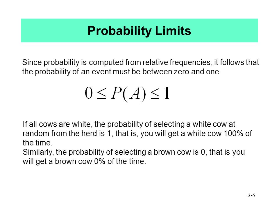 3-5 Probability Limits Since probability is computed from relative frequencies, it follows that the probability of an event must be between zero and one.