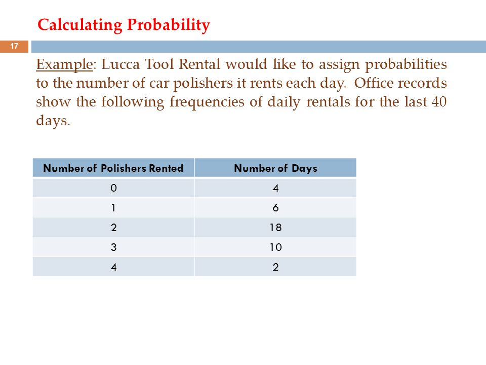 Calculating Probability Example: Lucca Tool Rental would like to assign probabilities to the number of car polishers it rents each day. Office records