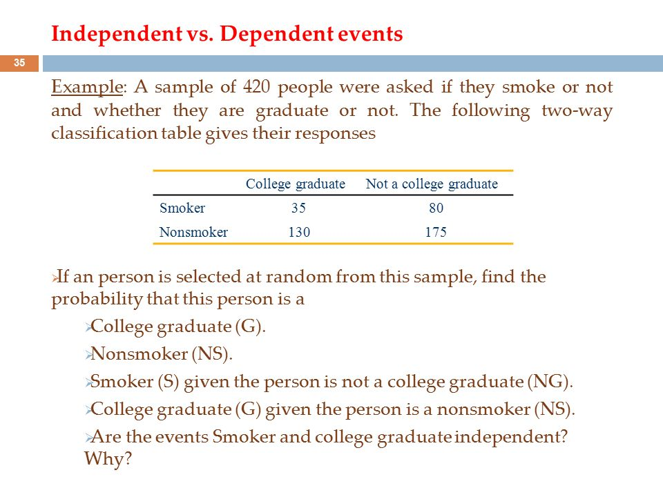 Independent vs. Dependent events Example: A sample of 420 people were asked if they smoke or not and whether they are graduate or not. The following t