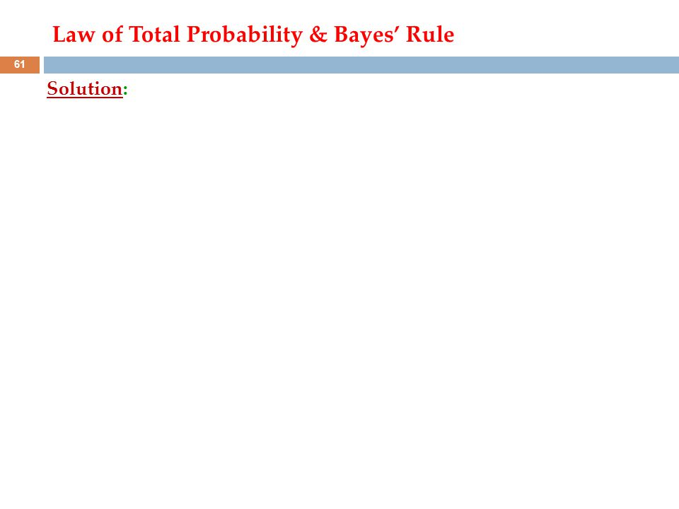 Solution: 61 Law of Total Probability & Bayes' Rule