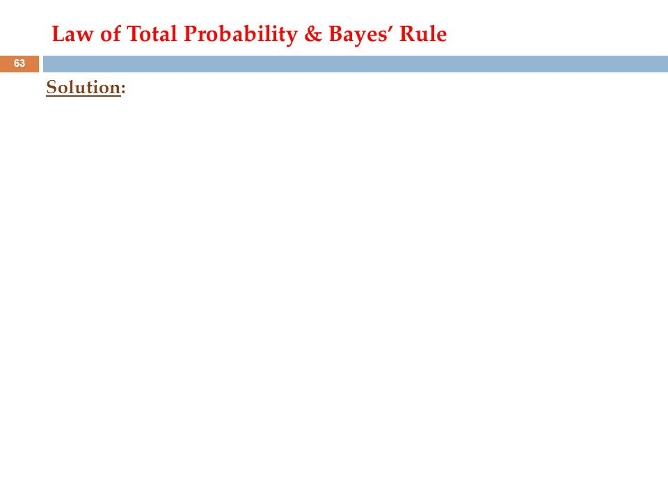 Solution: 63 Law of Total Probability & Bayes' Rule