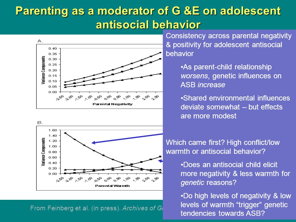 Parenting as a moderator of G &E on adolescent antisocial behavior From Feinberg et al.