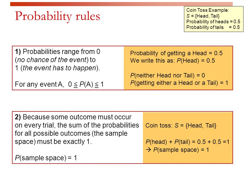  Sample spaces can be either finite or infinite  Toss a fair coin.