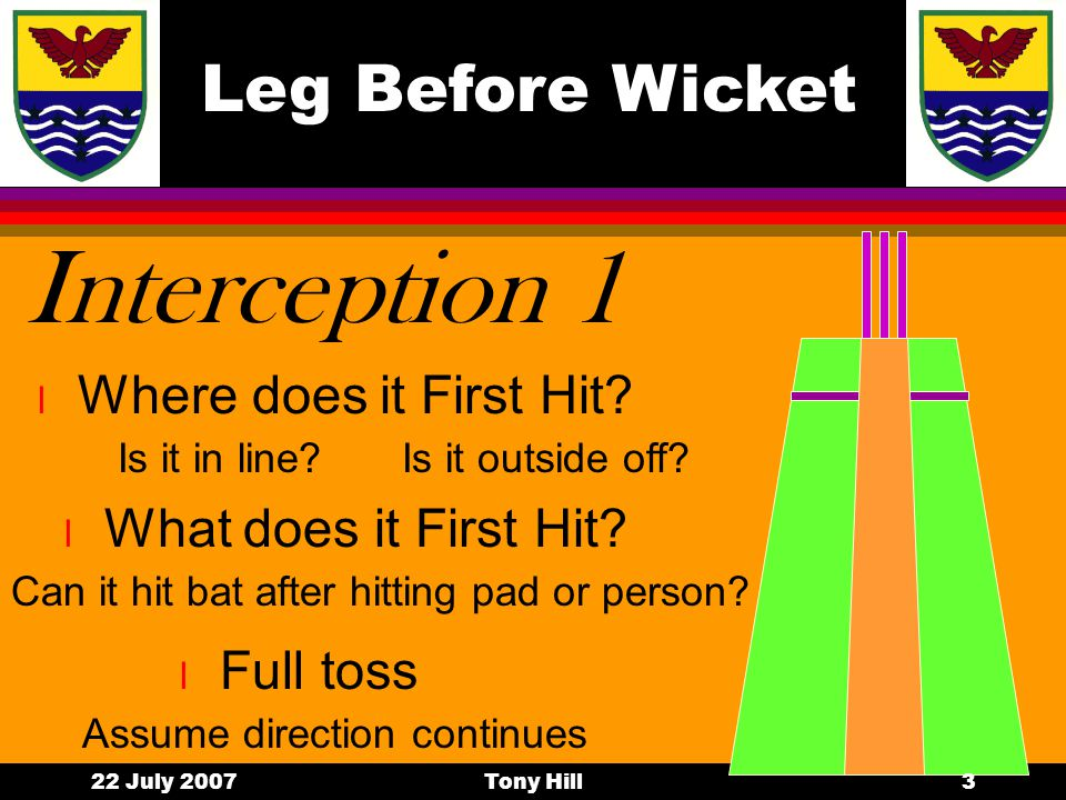 Leg Before Wicket 22 July 2007Tony Hill2 Must haves lAlAND…..