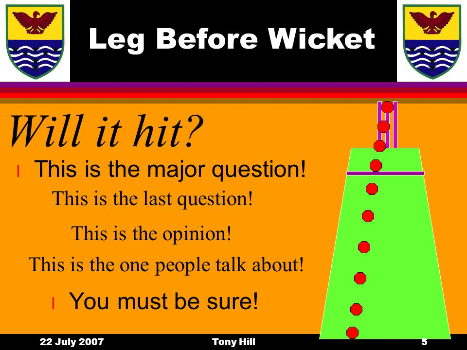 Leg Before Wicket 22 July 2007Tony Hill4 Interception 2 l Outside the off stump l Outside the leg stump What happens here.